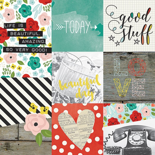 Simple Stories - Life In Color - 4x4 4x6 Vertical Journaling Card Elements Paper 30,5x30,5 cm