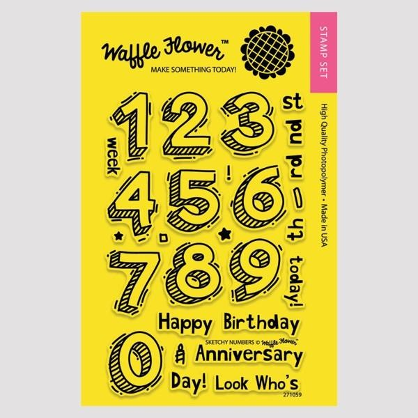 Waffle Flower - Clear Stamp Set - 271059 Sketchy Numbers 27 tlg