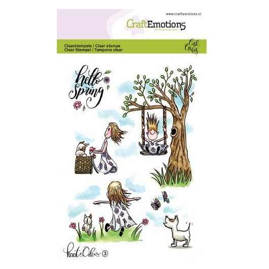 CraftEmotions Clear Stamp A6 - Katze Hund Schmetterling 3 by Carla Creaties