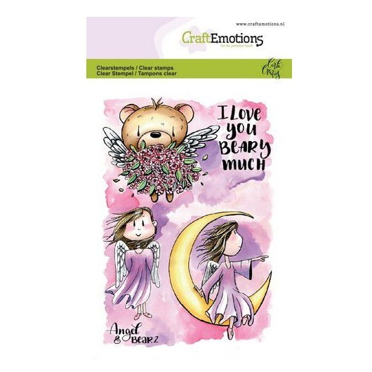 CraftEmotions Clear Stamp A6 - Angel & Bear 2 by Carla Creaties