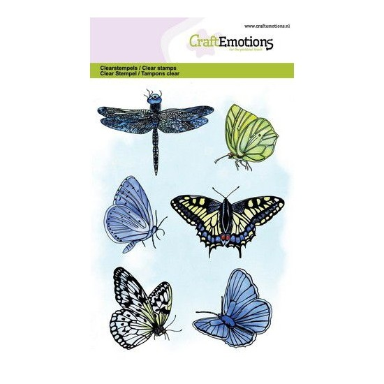 CraftEmotions Clear Stamp A6 - Butterflies Schmetterlinge