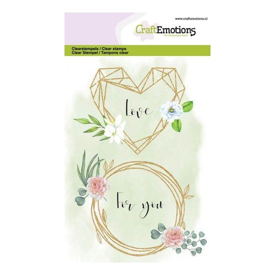 CraftEmotions Clear Stamp A6 - Floral Frame Heart and Ring