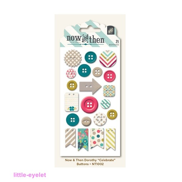 My Minds Eye - Now & Then [Dorothy] - Celebrate Decorative Buttons 21 tlg