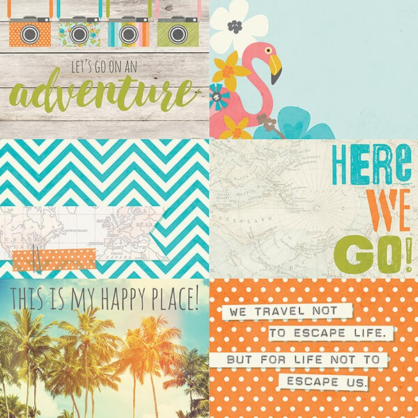 Simple Stories - You Are Here - 4x6 Horizontal Journaling Card Elements Paper 30,5x30,5 cm