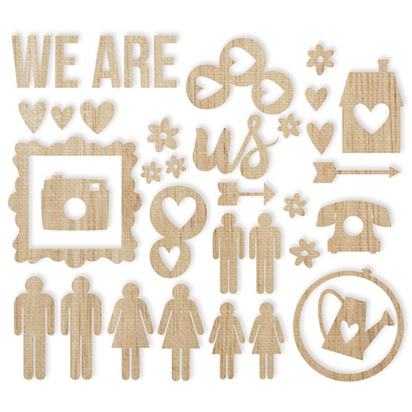 Wood Veneers - We Are Family - 36 tlg von Simple Stories - dein Project Life