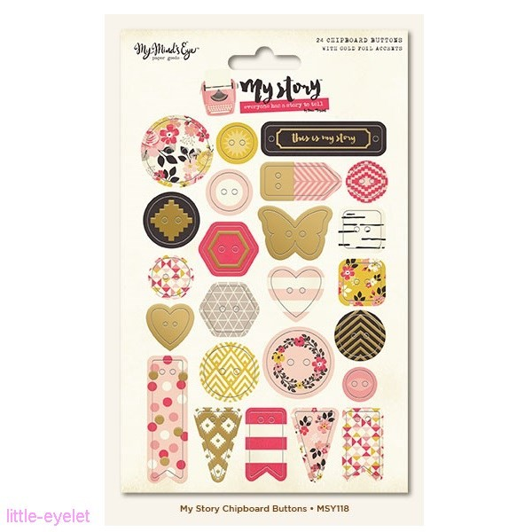 My Minds Eye - My Story - Gold Foiled Chipboard Buttons 24 tlg