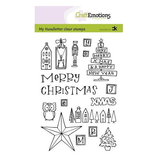 CraftEmotions Clear Stamp A6 - Handletter X-MAS Decorations 1