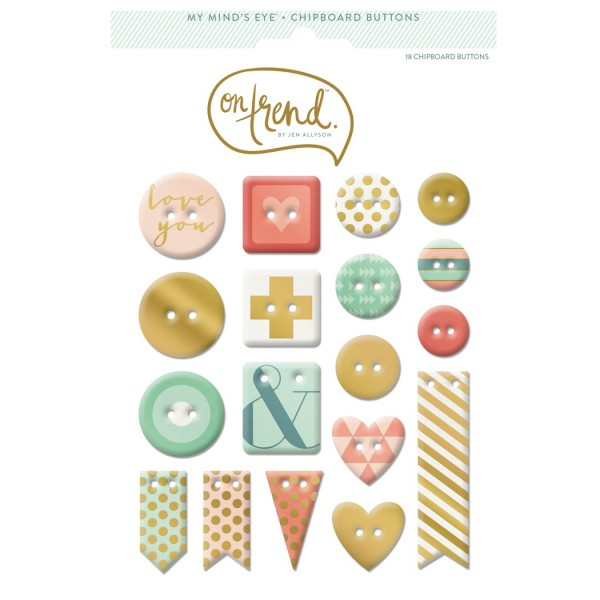 My Minds Eye - On Trend [Sweet] - Gold Foiled Chipboard Buttons 18 tlg