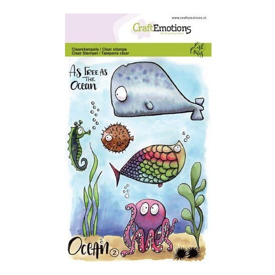 CraftEmotions Clear Stamp A6 - Ocean 2