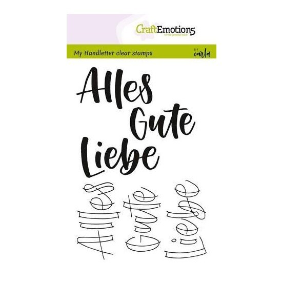 CraftEmotions Clear Stamp A6 - Handletter - Alles Gute Liebe