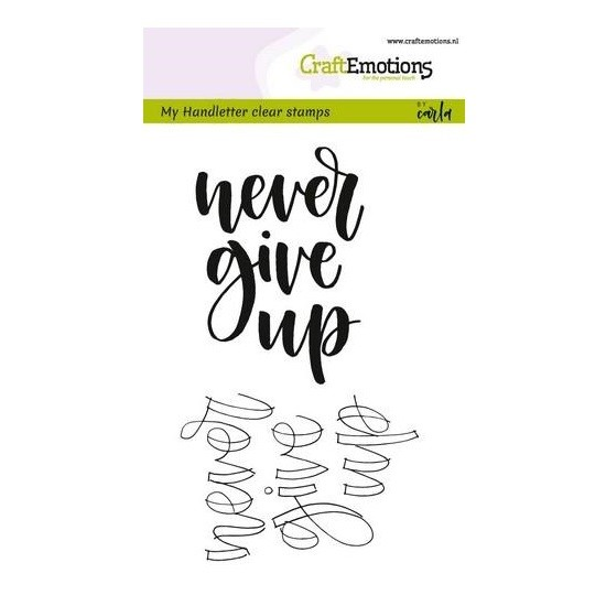 CraftEmotions Clear Stamp A6 - Handletter - never give up