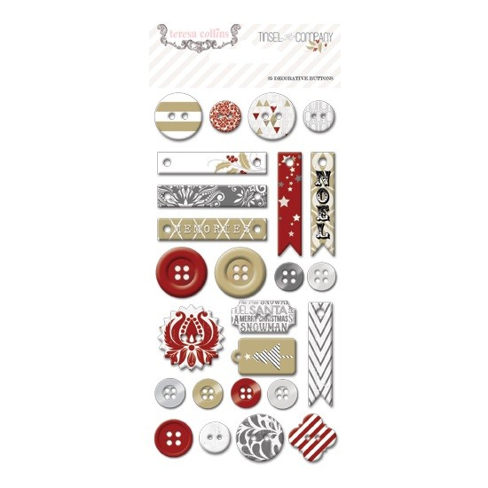 Teresa Collins - Tinsel and Company - Chipboard Buttons 25 tlg