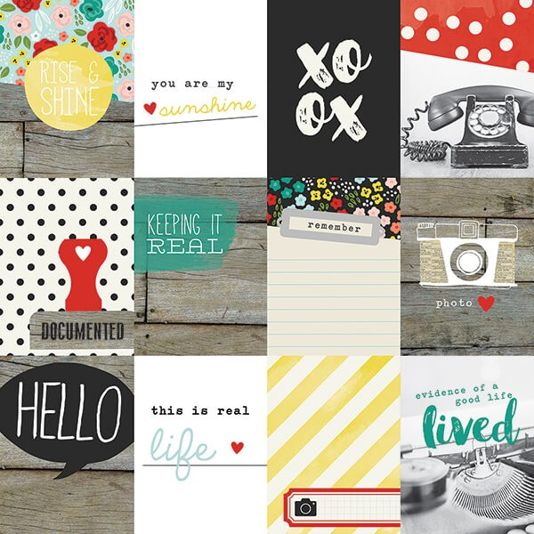 Simple Stories - Life In Color - 3x4 Journaling Card Elements Paper 30,5x30,5 cm