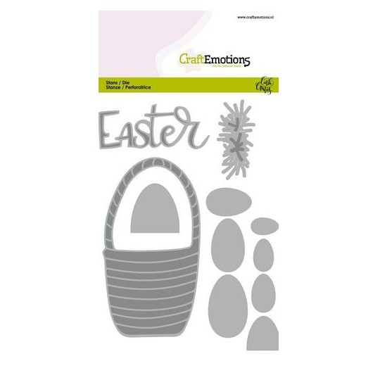 CraftEmotions Stanzschablone Easter Basket with Eggs - Osterkorb mit Eier