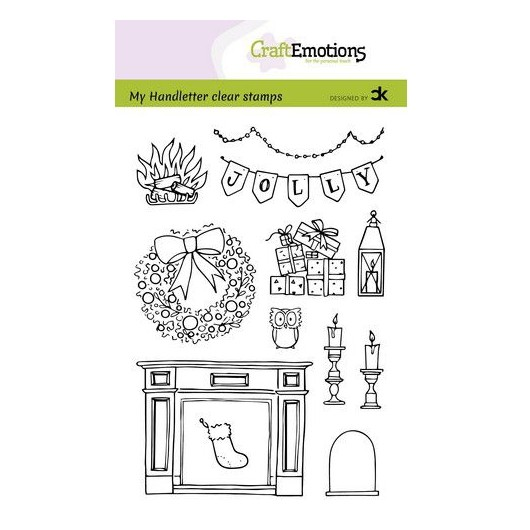 CraftEmotions Clear Stamp A6 - Handletter X-MAS Decorations 2