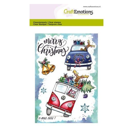 CraftEmotions Clear Stamp A6 - x-mass cars 1 by Carla Creaties