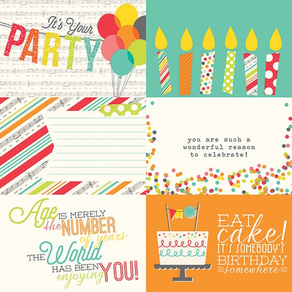 Simple Stories - Lets Party - 4x6 Horizontal Journaling Card Elements Paper 30,5x30,5 cm