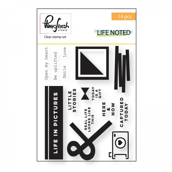Pinkfresh Studio - Life Noted - Clear Stamp Set 14 tlg
