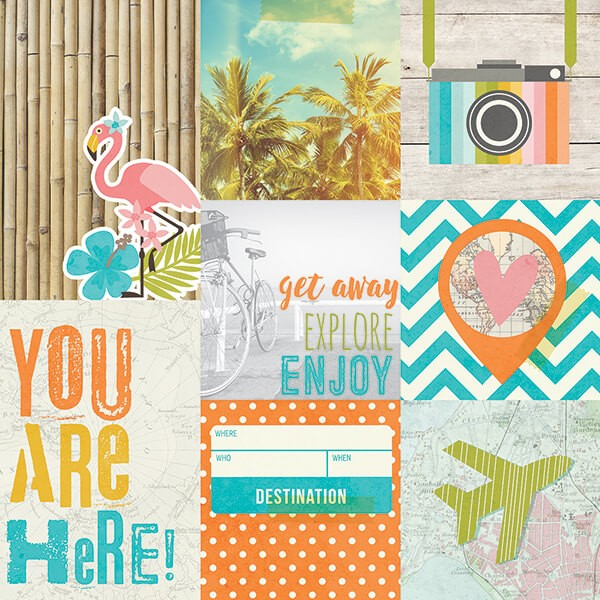 Simple Stories - You Are Here - 4x4 4x6 Vertical Journaling Card Elements Paper 30,5x30,5 cm