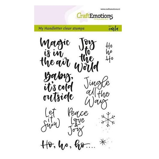 CraftEmotions Clear Stamp A6 - Handletter Text x-mas small by Carla Kamphuis