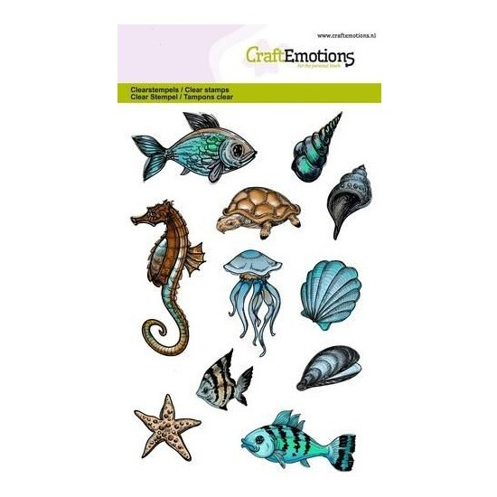 CraftEmotions Clear Stamp A6 - Sea Animals