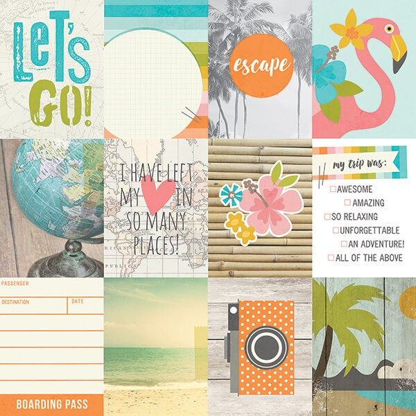 Simple Stories - You Are Here - 3x4 Journaling Card Elements Paper 30,5x30,5 cm