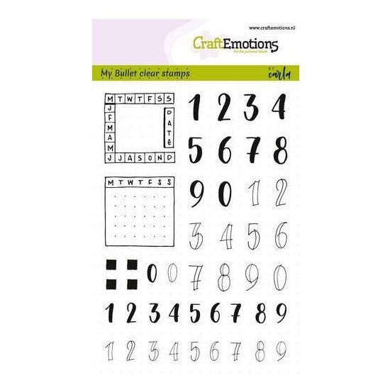 CraftEmotions Clear Stamp A6 - Bullet Journal Numbers Planner