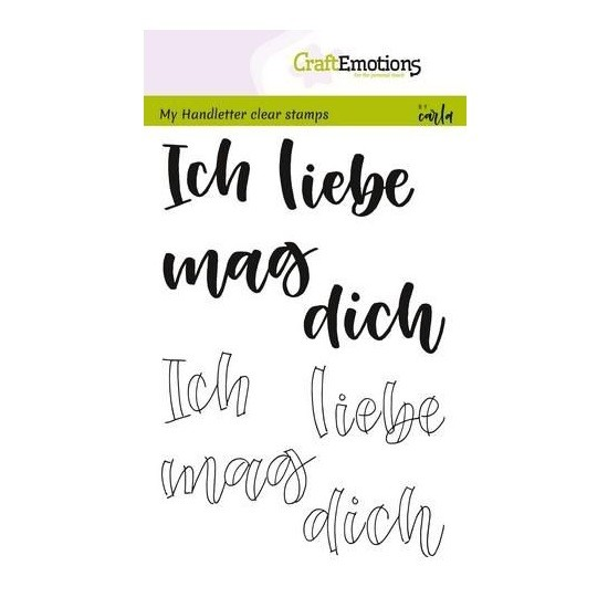 CraftEmotions Clear Stamp A6 - Handletter - Ich liebe dich