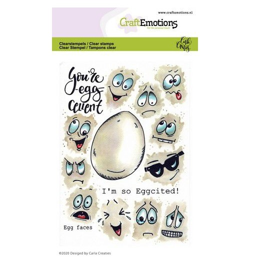 CraftEmotions Clear Stamp A6 - Egg Faces - Osterei Gesichter